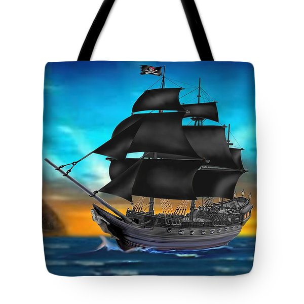 Pirate Ship At Sunset Tote Bag