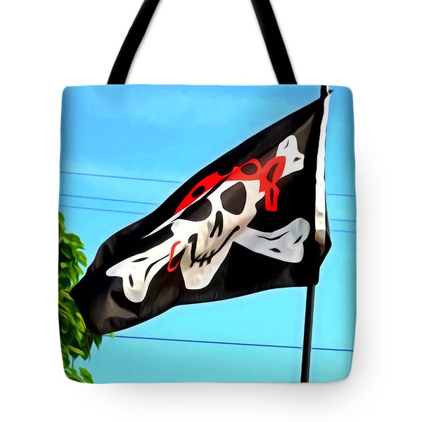 Pirate Ship Flag Of The Skull And Crossbones Tote Bag by Lanjee Chee