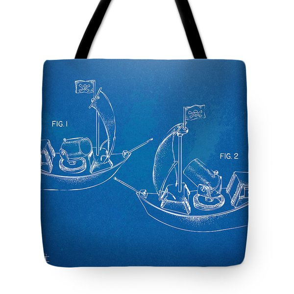 Pirate Ship Patent - Blueprint Tote Bag by Nikki Marie Smith