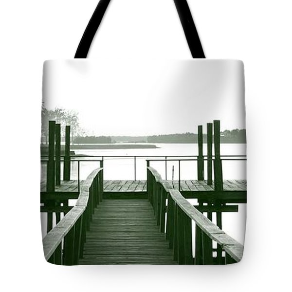 Pirate's Cove Pier In Monochrome Tote Bag