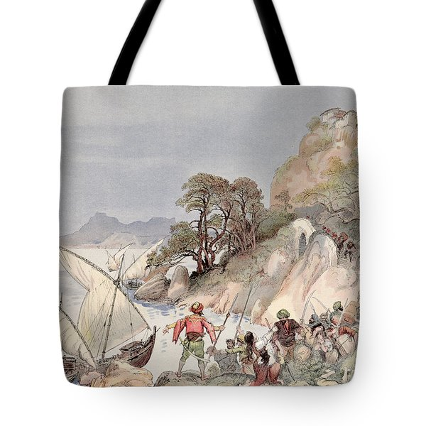 Pirates From The Barbary Coast Capturin Gslaves On The Mediterranean Coast Tote Bag by Albert Robida