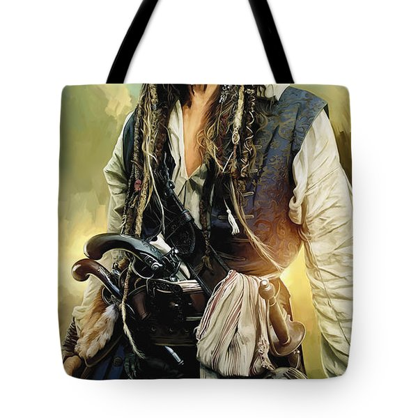 Pirates Of The Caribbean Johnny Depp Artwork 1 Tote Bag by Sheraz A
