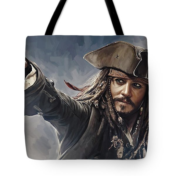Pirates Of The Caribbean Johnny Depp Artwork 2 Tote Bag
