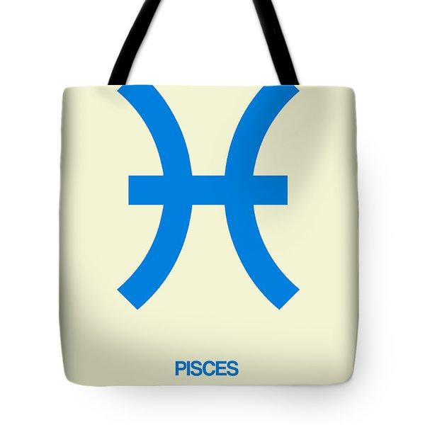 Pisces Zodiac Sign Blue Tote Bag