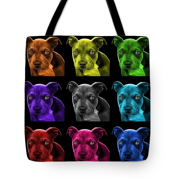 Pitbull Puppy Pop Art - 7085 Bb - M Tote Bag