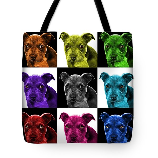 Pitbull Puppy Pop Art - 7085 V1 - M Tote Bag by James Ahn