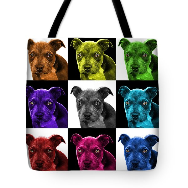 Pitbull Puppy Pop Art - 7085 V2 - M Tote Bag by James Ahn