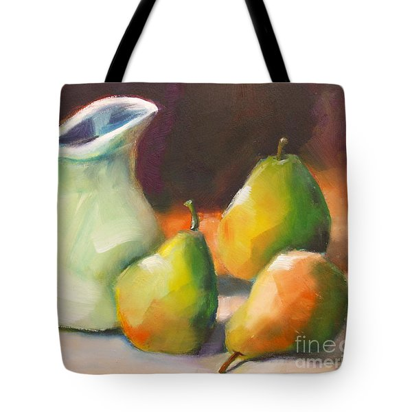 Tote Bag featuring the painting Pitcher And Pears by Michelle Abrams