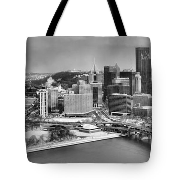 Pittsburgh Black And White Winter Panorama Tote Bag
