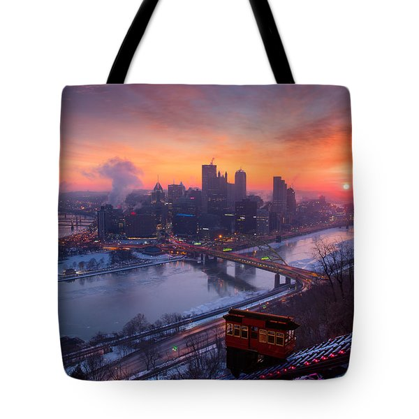 Pittsburgh Skyline Winter 2 Tote Bag by Emmanuel Panagiotakis