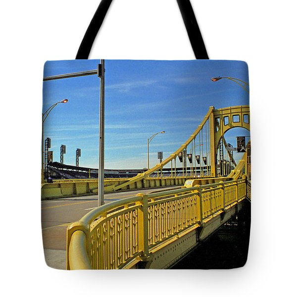 Pittsburgh - Roberto Clemente Bridge Tote Bag by Frank Romeo