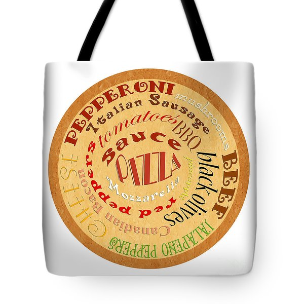 Pizza Typography 2 Tote Bag