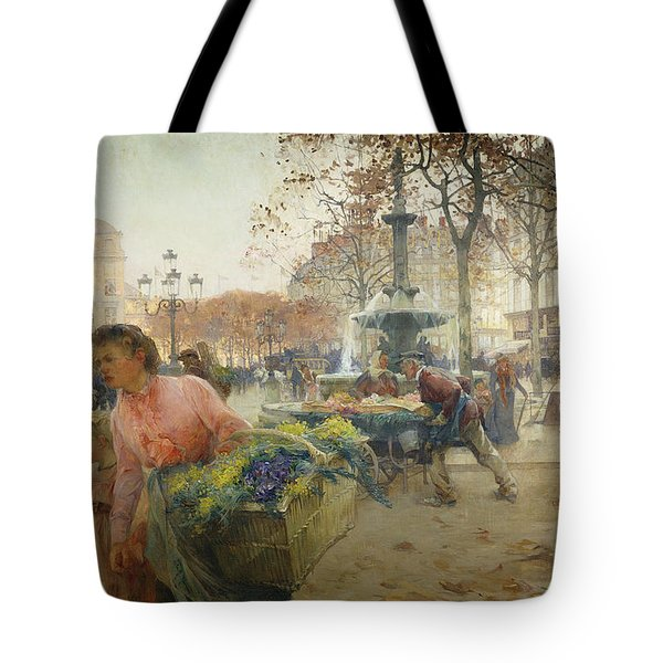 Place Du Theatre Francais Paris Tote Bag by Eugene Galien-Laloue