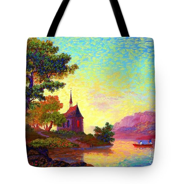 Tote Bag featuring the painting Beautiful Church, Place Of Welcome by Jane Small