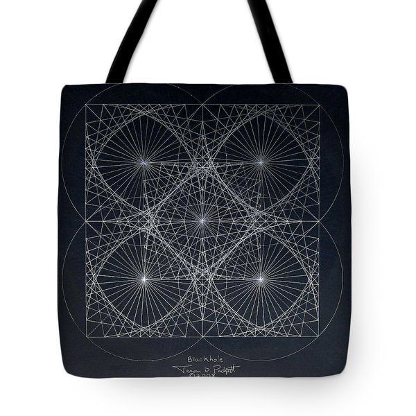 Tote Bag featuring the drawing Plancks Blackhole by Jason Padgett