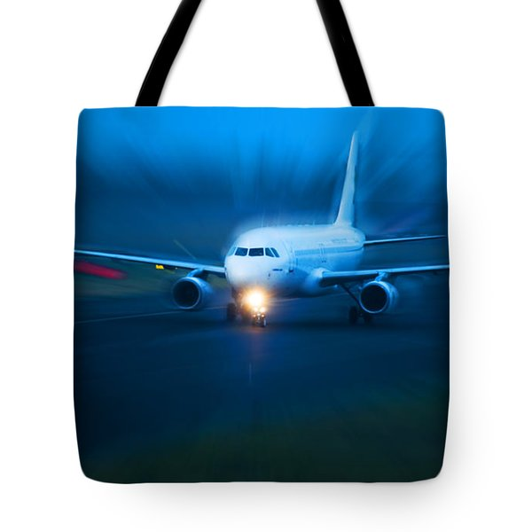 Plane Takes Of At Dusk Tote Bag by Michal Bednarek