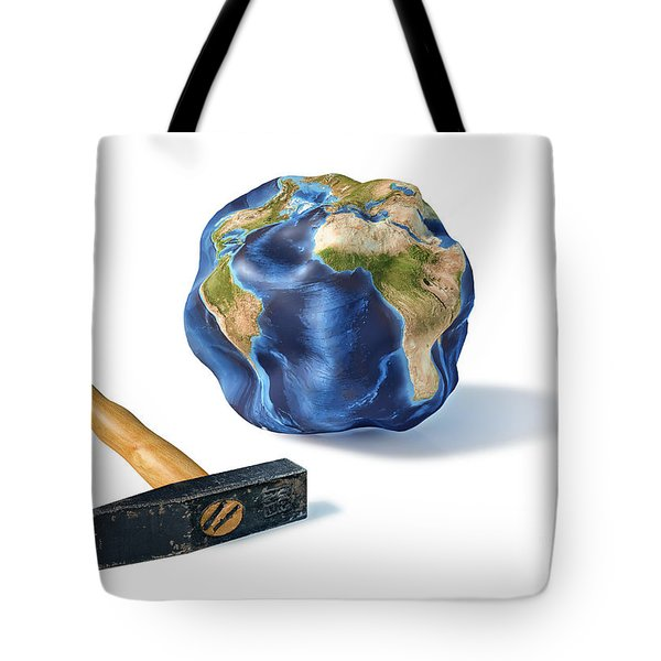 Planet Earth Smashed By A Hammer Tote Bag by Leonello Calvetti