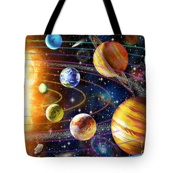 Planetary System Tote Bag by Adrian Chesterman