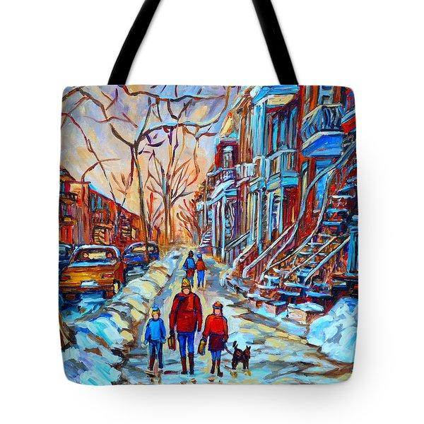 Plateau Montreal Street Scene Tote Bag