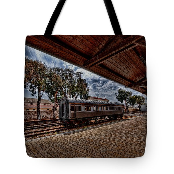 platform view of the first railway station of Tel Aviv Tote Bag by Ron Shoshani