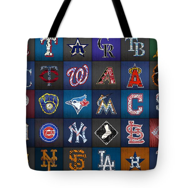 Play Ball Recycled Vintage Baseball Team Logo License Plate Art Tote Bag by Design Turnpike