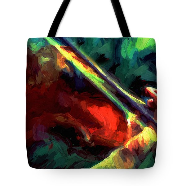 Tote Bag featuring the painting Play Gypsy Play - Abstract Realism by Isabella Howard