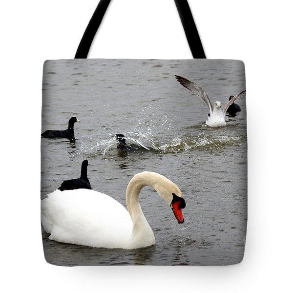 Playful Fun On The Lake Tote Bag by Kathy  White