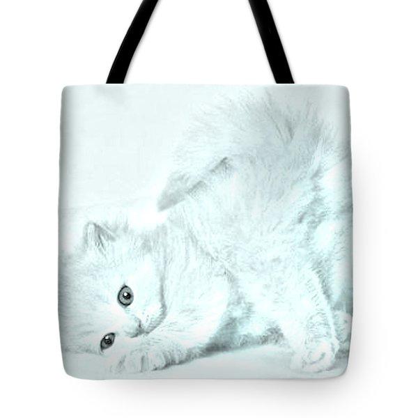 Playful Kitty Tote Bag by J D Owen