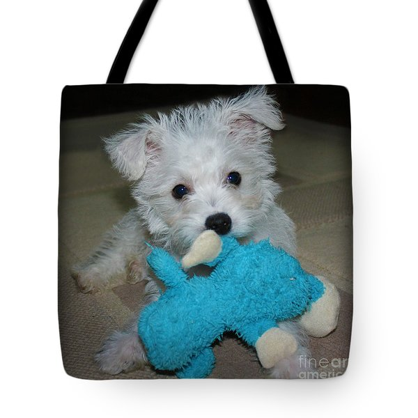 Playful Puppy Tote Bag by Terri Waters