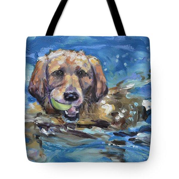 Playful Retriever Tote Bag