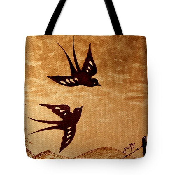 Tote Bag featuring the painting Playful Swallows Original Coffee Painting by Georgeta  Blanaru