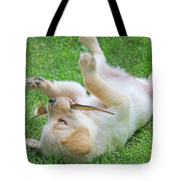 Playful Yellow Labrador Retriever Puppy Tote Bag by Jennie Marie Schell