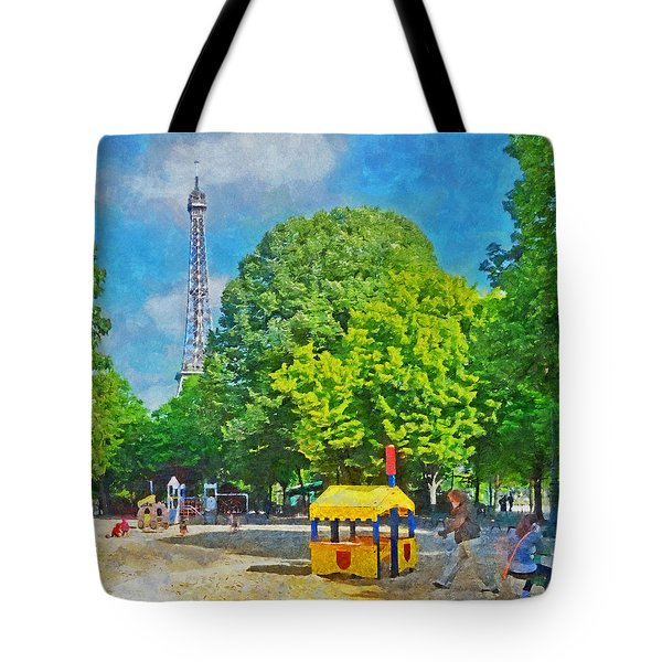 Playground On The Champ De Mars Near The Eiffel Tower Tote Bag