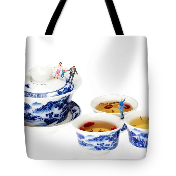 Playing Among Blue-and-white Porcelain Little People On Food Tote Bag by Paul Ge