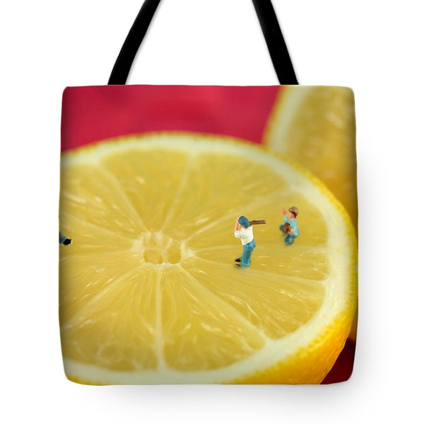 Playing Baseball On Lemon Tote Bag by Paul Ge
