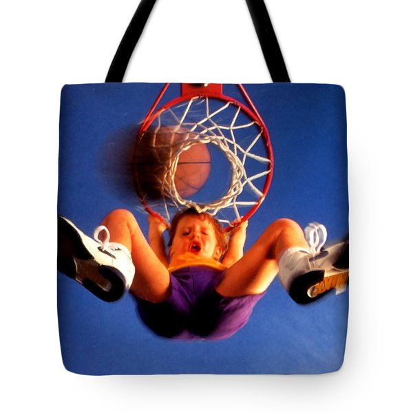 Playing Basketball Tote Bag by Lanjee Chee