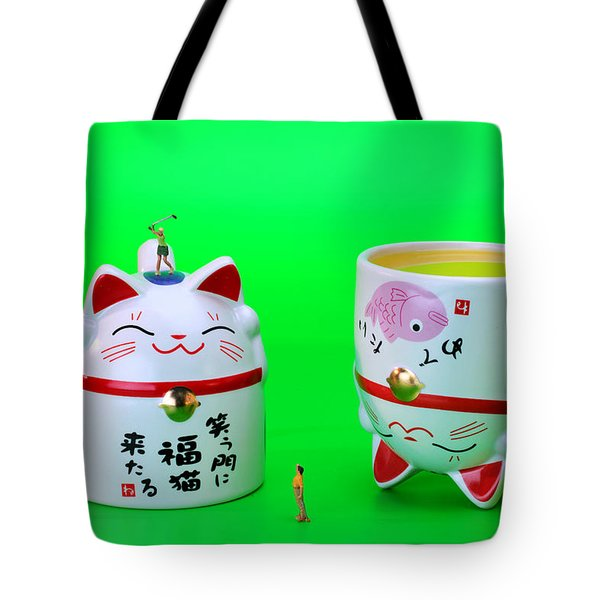 Playing Golf On Cat Cups Tote Bag by Paul Ge