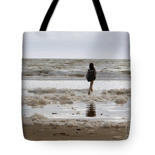 Tote Bag featuring the photograph Girl Playing In Sea Foam by Haleh Mahbod