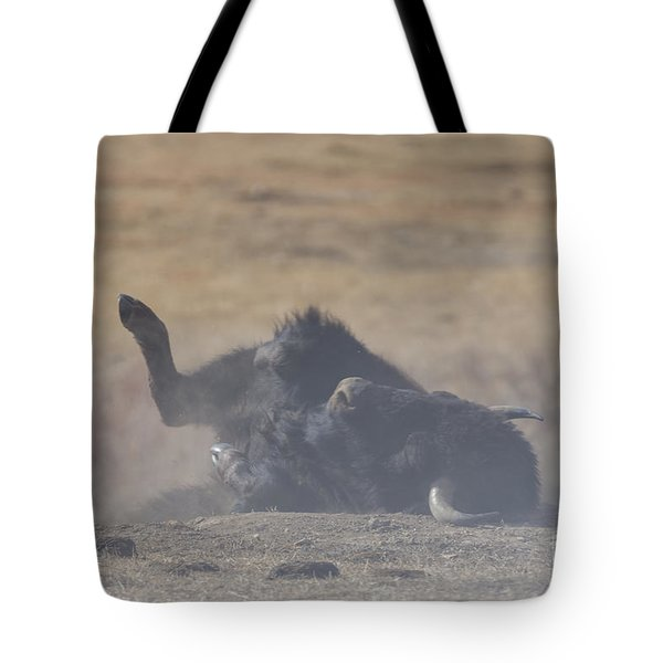 American Bison Playing In The Dirt At Custer State Park South Dakota Tote Bag