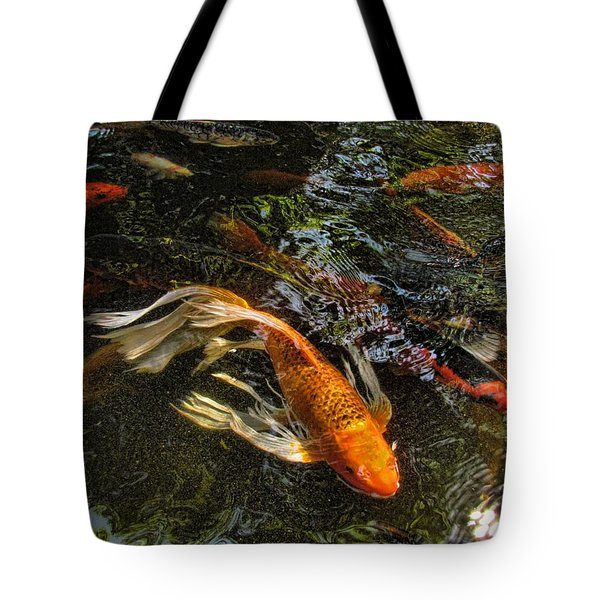 Playing Koi With Me Tote Bag by Shannon Story