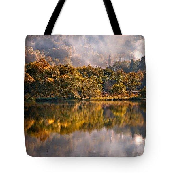 Playing Mirror. Loch Achray. Scotland Tote Bag by Jenny Rainbow