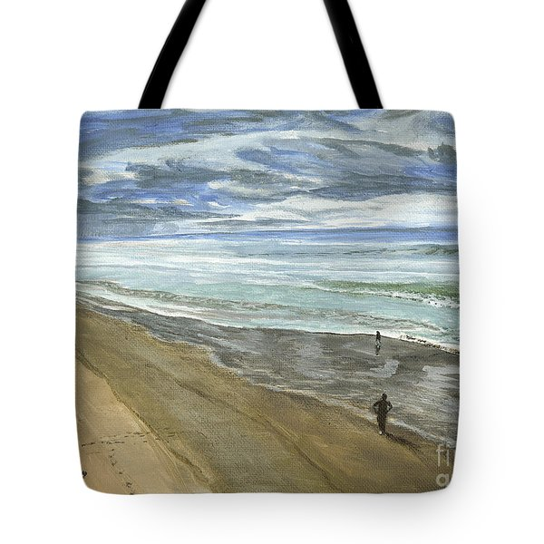 Tote Bag featuring the painting Playing On The Oregon Coast by Ian Donley