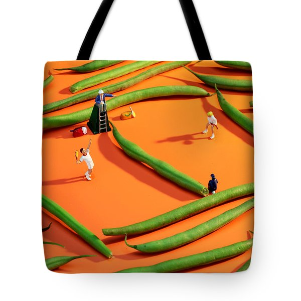 Playing Tennis Among French Beans Little People On Food Tote Bag by Paul Ge