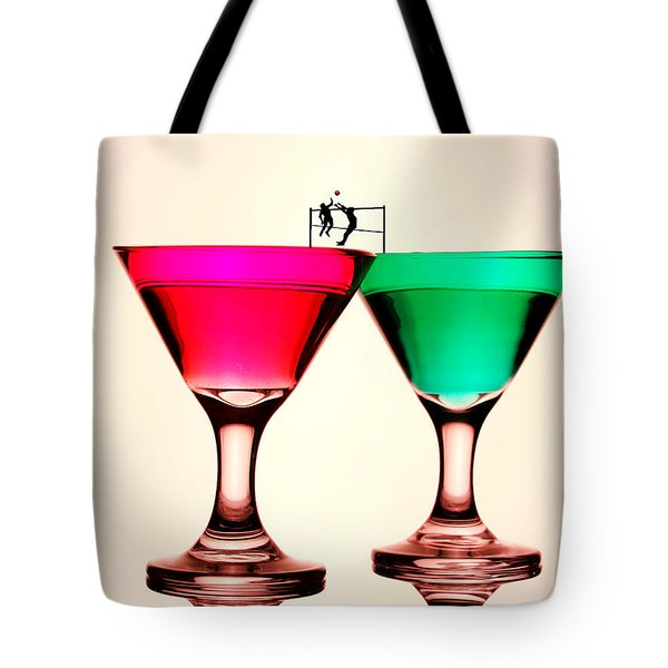 Playing Volleyball On Colorful Cups Little People On Food Tote Bag by Paul Ge