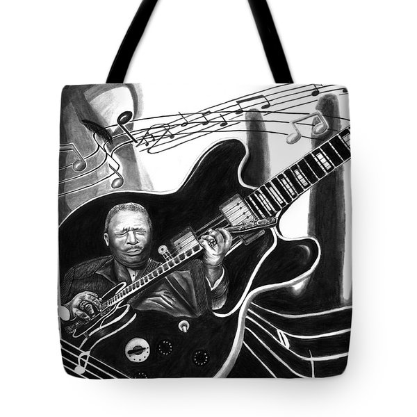 Playing With Lucille - Bb King Tote Bag by Peter Piatt