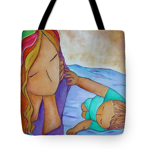 Playing With Mommy's Rainbow Hair Tote Bag by Gioia Albano