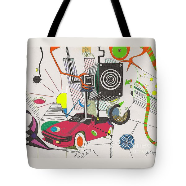 Tote Bag featuring the drawing Playtime by John Wiegand