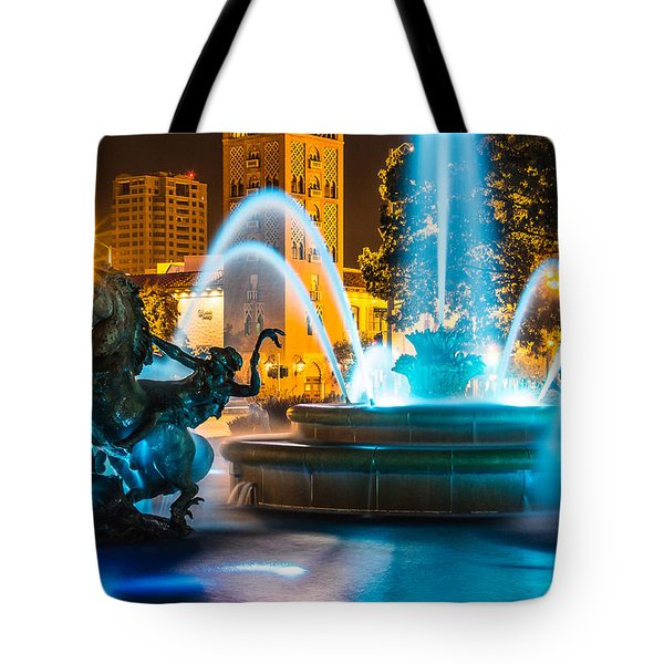 Plaza Blue Fountain Tote Bag by Steven Bateson