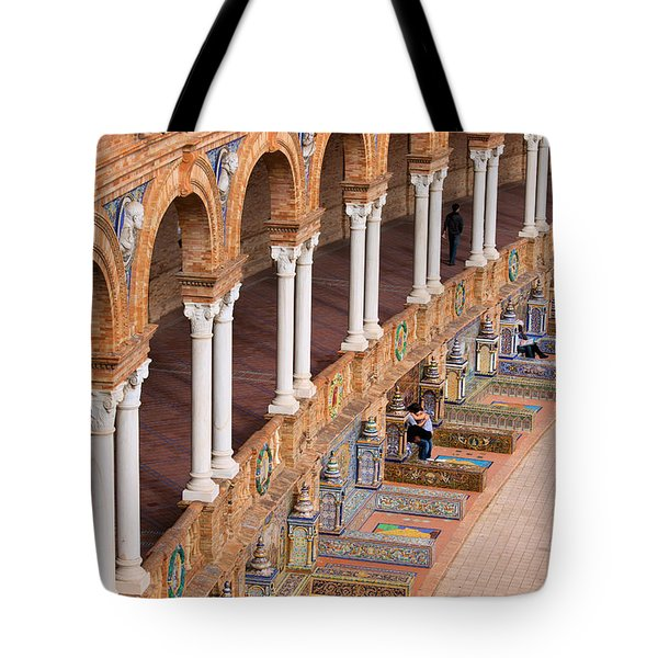 Plaza De Espana Colonnade In Seville Tote Bag by Artur Bogacki
