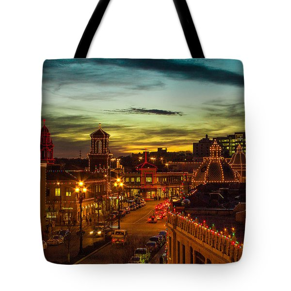 Plaza Lights At Sunset Tote Bag by Steven Bateson